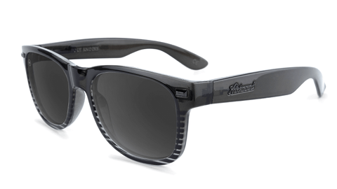 Sunglasses with Black and Clear Frame and Polarized Black Smoke Lenses, Flyover
