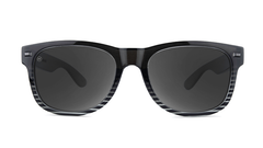 Sunglasses with Black and Clear Frame and Polarized Black Smoke Lenses, Front