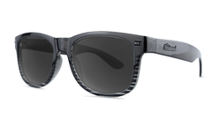 Sunglasses with Black and Clear Frame and Polarized Black Smoke Lenses, Threequarter