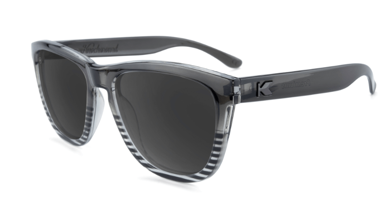 Sunglasses with Black and Clear Frames and Polarized Smoke Lenses, Flyover