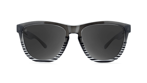 Sunglasses with Black and Clear Frames and Polarized Smoke Lenses, Back