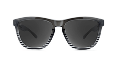Sunglasses with Black and Clear Frames and Polarized Smoke Lenses, Front