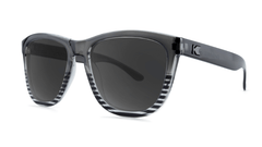 Sunglasses with Black and Clear Frames and Polarized Smoke Lenses, Threequarter