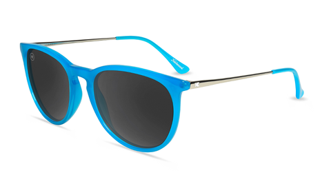 Sunglasses with Blue Frames and Polarized Smoke Lenses, Flyover
