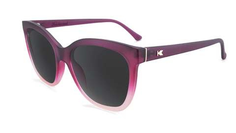 Sunglasses with Rose to White Fade Frames and Polarized Smoke Lenses, Flyover