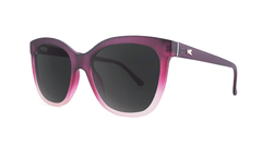 Sunglasses with Rose to White Fade Frames and Polarized Smoke Lenses, Threequarter