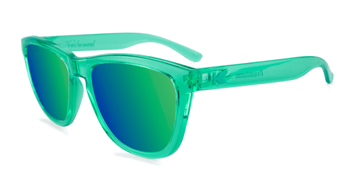 Sunglasses with Monochrome Green Frames and Polarized Green Moonshine Lenses, Flyover