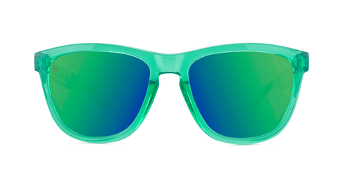 Sunglasses with Monochrome Green Frames and Polarized Green Moonshine Lenses, Back