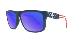 Sunglasses with Star Spangled frames and Polarized Blue Moonshine Lenses, Threequarter