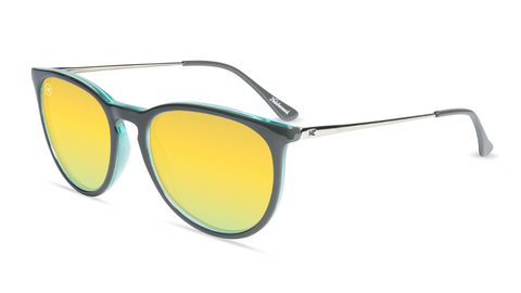 Sunglasses with Grey Fronts and Polarized Yellow Lenses, Flyover