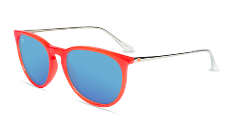 Sunglasses with Red Frames and Polarized Aqua Lenses, Flyover