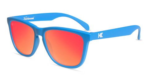 Sunglasses with Matte Blue Frames and Polarized Red Lenses, Flyover