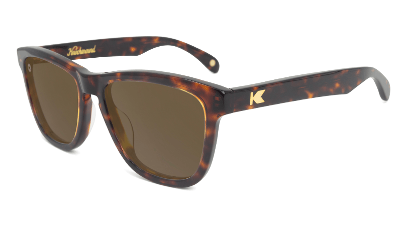 Deluxe Sunglasses with Glossy Tortoise Shell Frame and Polarized Amber Lenses, Flyover