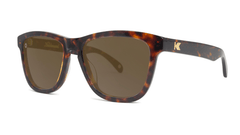 Deluxe Sunglasses with Glossy Tortoise Shell Frame and Polarized Amber Lenses, Threequarter