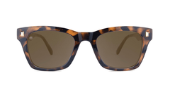 Sunglasses with Glossy Tortoise Shell Frames and Polarized Amber Lenses, Front