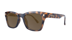 Sunglasses with Glossy Tortoise Shell Frames and Polarized Amber Lenses, Threequarter