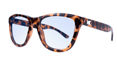 Sunglasses with Tortoise Shell Frame and Blue Light Blocker Lenses, Threequarter