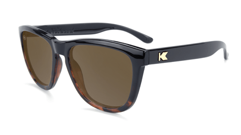 Sunglasses with Glossy Black and Tortoise Shell Frame and Polarized Amber Lenses, Flyover