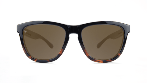 Sunglasses with Glossy Black and Tortoise Shell Frame and Polarized Amber Lenses, Back