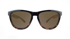 Sunglasses with Glossy Black and Tortoise Shell Frame and Polarized Amber Lenses, Front