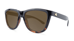 Sunglasses with Glossy Black and Tortoise Shell Frame and Polarized Amber Lenses, Threequarter
