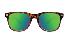 Sunglasses with Tortoise Shell Frame and Polarized Green Moonshine Lenses. Front