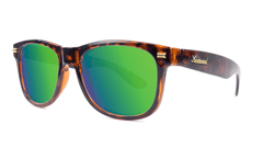 Sunglasses with Tortoise Shell Frame and Polarized Green Moonshine Lenses. Threequarter