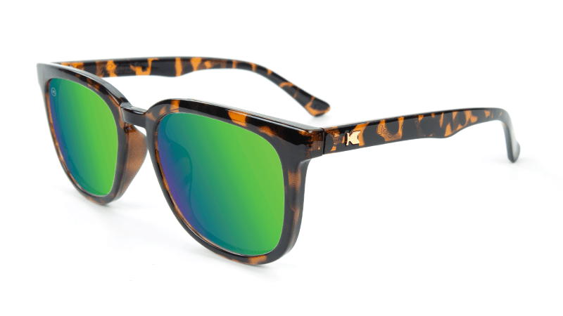 Sunglasses with Tortoise Shell Frame and Polarized Green Moonshine Lenses, Flyover