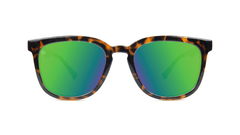 Sunglasses with Tortoise Shell Frame and Polarized Green Moonshine Lenses, Front