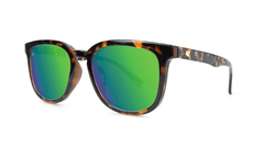 Sunglasses with Tortoise Shell Frame and Polarized Green Moonshine Lenses, Threequarter