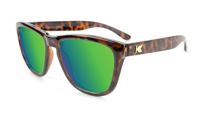 Premiums Sunglasses with Tortoise Shell Frames and Green Moonshine Mirrored Lenses, Flyover