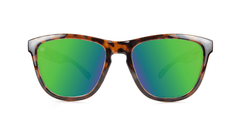 Premiums Sunglasses with Tortoise Shell Frames and Green Moonshine Mirrored Lenses, Front
