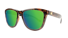 Premiums Sunglasses with Tortoise Shell Frames and Green Moonshine Mirrored Lenses, Threequarter