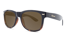 Sunglasses with Black and Tortoise Shell Fade Frames, and Polarized Amber Lenses, Threequarter