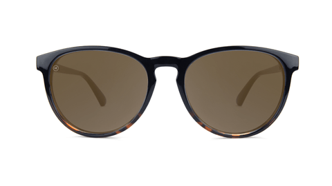 Sunglasses with Black and Tortoise Shell Fade Frames, and Polarized Amber Lenses, Back