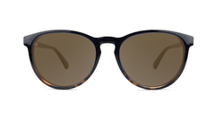 Sunglasses with Black and Tortoise Shell Fade Frames, and Polarized Amber Lenses, Front