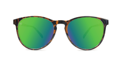 Mai Tais Sunglasses with Glossy Tortoise Shell and Green Moonshine Lenses, Front