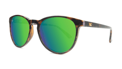 Mai Tais Sunglasses with Glossy Tortoise Shell and Green Moonshine Lenses, Threequarter