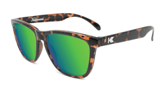 Sunglasses with Glossy Tortoise Shell Frame and Polarized Green Moonshine Lenses, Flyover