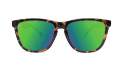 Sunglasses with Glossy Tortoise Shell Frame and Polarized Green Moonshine Lenses, Front