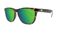 Sunglasses with Glossy Tortoise Shell Frame and Polarized Green Moonshine Lenses, Threequarter
