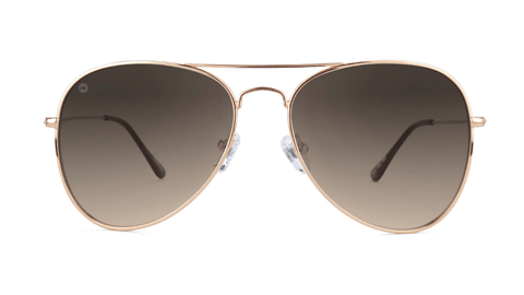 Sunglasses with Rose Gold Frame and Polarized Amber Gradient Lenses, Back