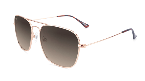 Sunglasses with Rose Gold Frame and Polarized Amber Gradient Lenses, Flyover
