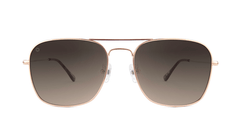 Sunglasses with Rose Gold Frame and Polarized Amber Gradient Lenses, Front
