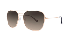 Sunglasses with Rose Gold Frame and Polarized Amber Gradient Lenses, Threequarter