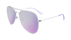 Sunglasses with Silver Metal Frame and Polarized Lilac Lenses, Flyover