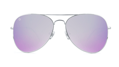 Sunglasses with Silver Metal Frame and Polarized Lilac Lenses, Front