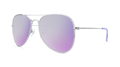 Sunglasses with Silver Metal Frame and Polarized Lilac Lenses, Threequarter