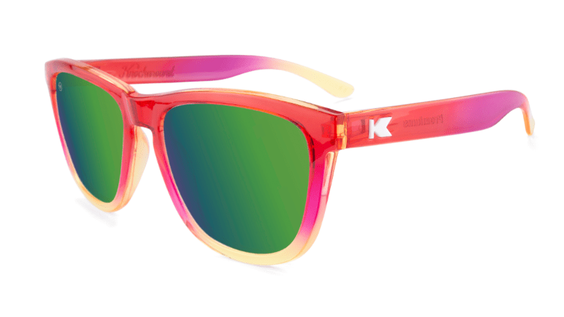 Sunglasses with Red and Yellow Frames and Polarized Green Lenses, Flyover