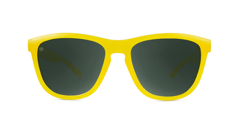 Sunglasses with Butterscotch Frames and Polarized Green Smoke Lenses, Back